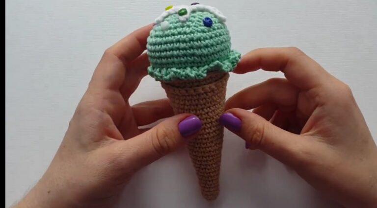 Видео МК мороженное в рожке крючком