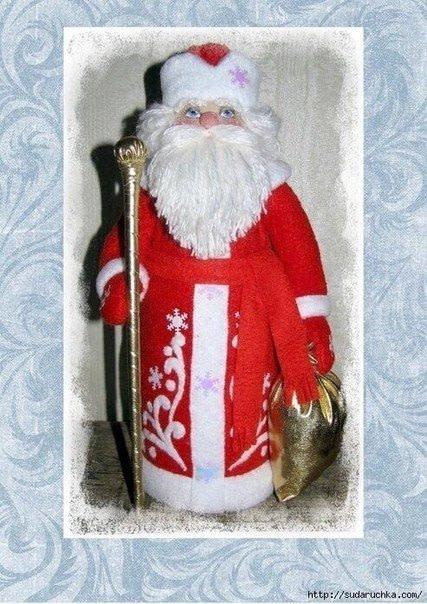 Выкройка игрушки ручной работы. Дед Мороз.